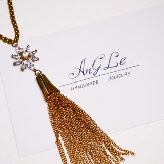 ❡ flower tassel necklace zircon