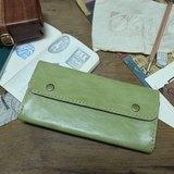 Lovey革小物 / 夏草 - 天然植鞣皮革日本手縫線真皮長皮夾