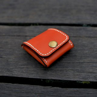 44. The hand-made leather wallet is folded square perspective