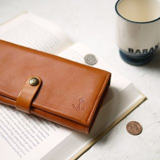 Japanese leather metal buckle large capacity wallet long clip network limited offer camel order order goods Made in Japan by CLEDRAN
