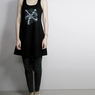 I. A. N Design wooden wheel black tunnel Long dig back vest 100% organic cotton Organic Cotton