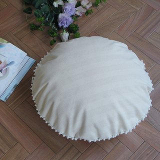 [Cover only] canvas stripes cushion cover pompon R