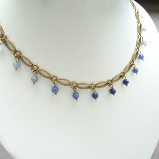 ::Mediterranean Eyes:: Dancing Sodalite, Blue Lace Agate Beads Copper Necklace