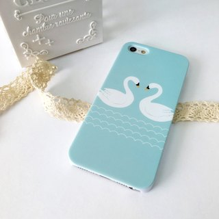 Swan Cyan Print Soft / Hard Case for iPhone X,  iPhone 8,  iPhone 8 Plus,  iPhone 7 case, iPhone 7 Plus case, iPhone 6/6S, iPhone 6/6S Plus, Samsung Galaxy Note 7 case, Note 5 case, S7 Edge case, S7 case