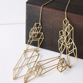 Modern Geometric Cube - Optical Art- Hand craft Necklace