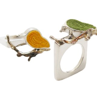 Handmade Siver Bird siver Ring  in Silver-Yellow(1 piece)