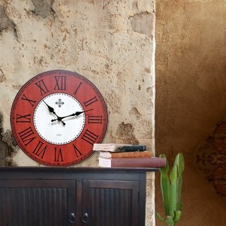 Solid wood vintage wall clock - brown orange gray - Roman numerals - round -30cmX30cm - mute