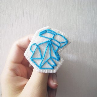 ORIGAMI Origami Embroidery Forest Series - sky-blue bunny pins