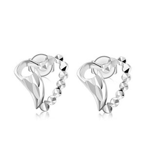 Hong Kong Design 14K / 585 white gold net gold heart-shaped earrings Art