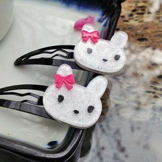 Bow tie rabbit, tick clip, small side clip, bangs clamp - white