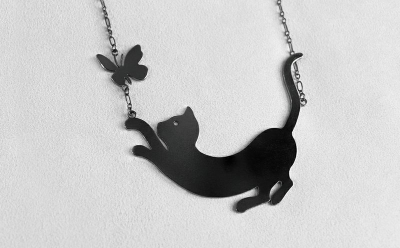 Ohappy Animal Series | Big Cat + Butterfly Stainless Steel Black Necklace