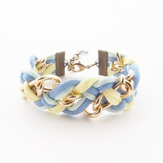 Blue, mint and yellow briaded bracelet with gold chain.