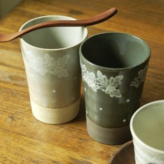 Japan's century-old IZAWA Lirica butterfly lace and little decorative beer mug / cup light gray high + long spoon stirring timber group