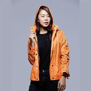 Simple reflective waterproof raincoat jacket / sunscreen windproof jacket / mountaineering / commuter / locomotive dazzling orange women