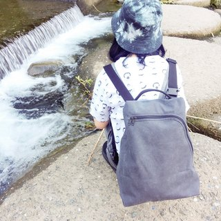 畚 箕 bag / canvas bag / diagonal backpack / backpack / side backpack / handbag / stone wash gray
