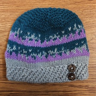 Handmade Hand Knit Wool Beanie Hat with wooden bottons