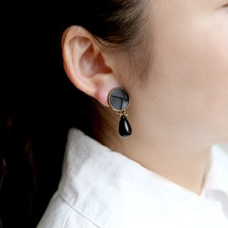 RE independent hand-made leather ear clip [radian - round and drop]