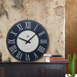 Solid wood vintage wall clock - blue - gray - Roman numerals - round - 38cmX38cm - mute
