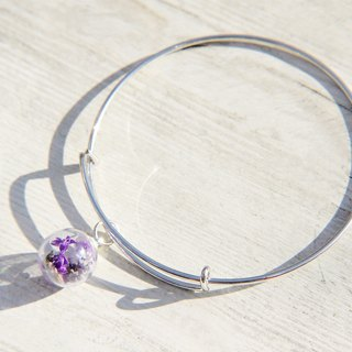 / Forest girl / British minimalist purple glass balls silver bracelet / bracelet - purple lavender forest