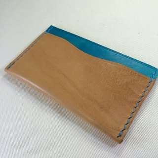 Rever Leather Italian leather hand-stitched leather-color card sets of leather card holder split hand-dyed colors blue bag engraved name three card slots can be used for a short clip with