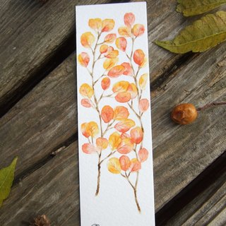 Autumn red leaves - hand-painted illustration bookmark (original)