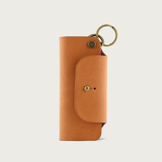 Leather key bag / key ring - Camel