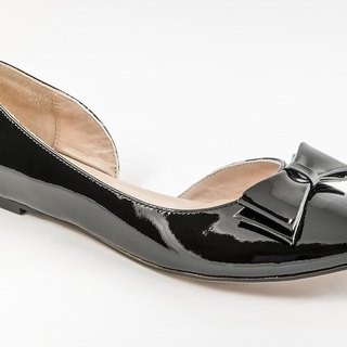 Bella-001m-02 bow doll shoes black patent leather ballet