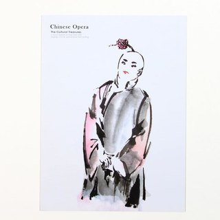 Ink opera clown postcard {}
