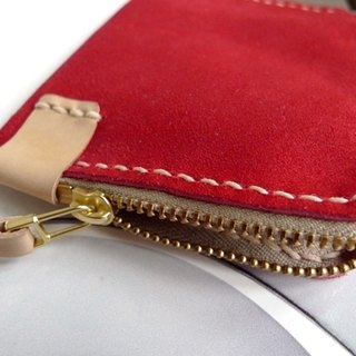 Limited amount of leather last 2 pieces - two-tone suede banknote purse - red paragraph