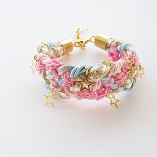 Pastel jewelry - girl birthday gift -cotton candy- fairy kei - sweet jewelry - braided bracelet