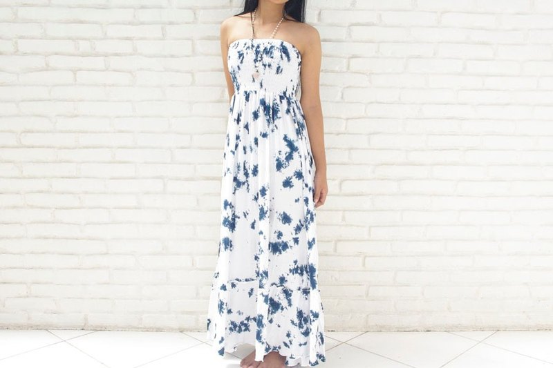 Uneven dyed Strapless Dress <Navy White>