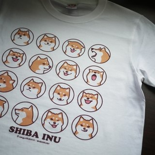 [Barn house] Shiba daily face white T-shirt