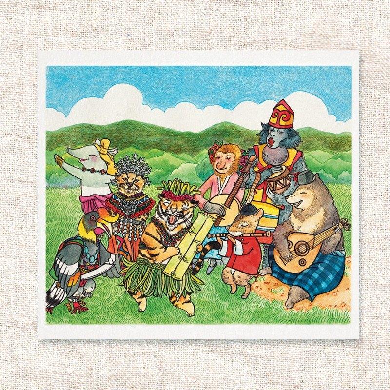 水彩手繪插畫   問候卡   畫作   擺飾   掛畫   明信片   卡片   複製畫【我們是馬來西亞的孩子】