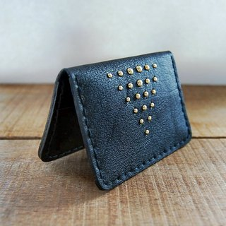 Gold studs/black leather card holder