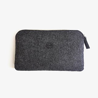 Clutch multifunctional simple wool felt / marbled deep melange [available as pencil. Pouch phone. Cosmetic passport package]