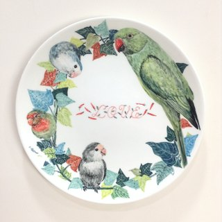 Parrot and sweet potato leaves the ring - 8-inch hand-painted porcelain parrot / Sheng Cai plate
