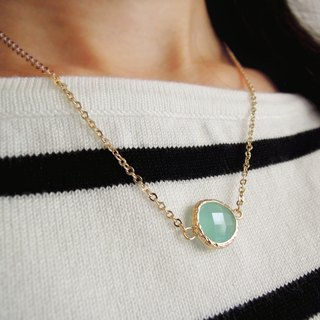 Noble, gold-plated edging glass, imitation gemstone, necklace, mint green (40cm / 16吋) • Gift