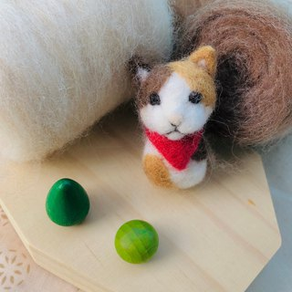 Sea Made Animal Collection ♥ red scarf cat brooch / brooch wool felt