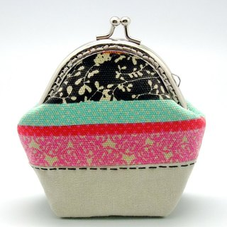 Three-color striped mouth gold package, purse (S-242)