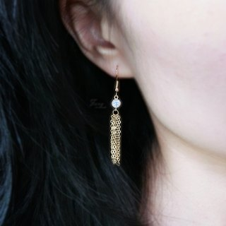 【Tassel small round diamond】Zircon earrings