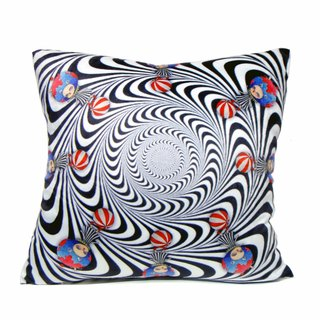 """Gookaso"" sister planet psychedelic swirl of black and white cartoon printed pillow 45x45cm original design"