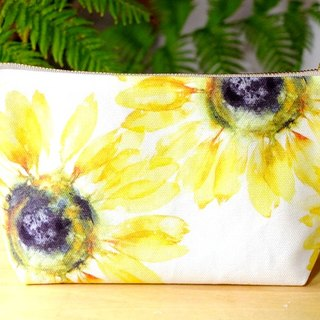"""Sunflower"" Medium Zipper Pouch Made Of Original Design Textile"