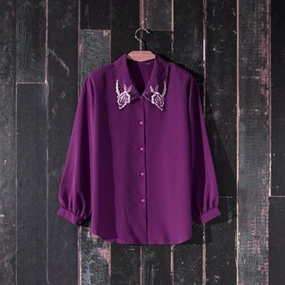 / Lin Meng dream / purple gradient detailed embroidery hollow collar vintage shirt vintage