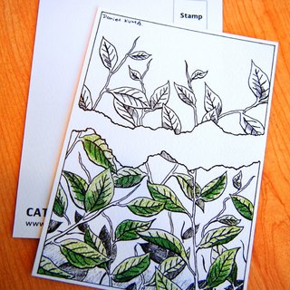 Postcard - green leaf