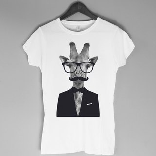 Giraffe-Gentleman Girl T-shirt -2 color giraffe animal beard gentleman glasses green paper art design fashion fashionable word