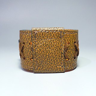 [ANITA hand-made unique ‧ Workshop] 2 WAY thick handmade leather bracelet Wide pounds - Specials