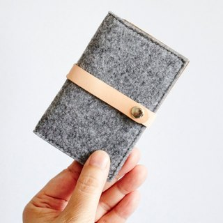 Handmade Wool Felt With Kraft Card Holder - Business card case, Card Holder