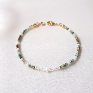 Aqua forest ‧Stretch bracelet of brass beaded