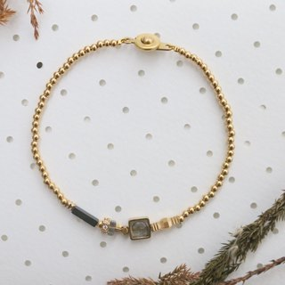 <☞ HAND IN HAND ☜> spectrum stone - change brass bracelet (0763)