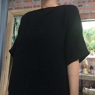 Natural hand-made clothes of natural materials washed cotton double knit black fifth of the sleeve pocket Blouse